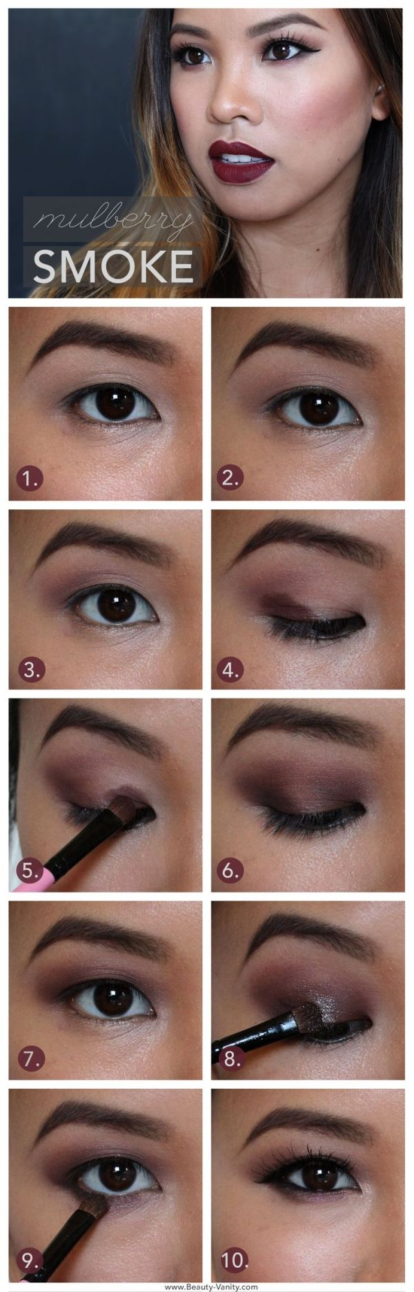 Beauty Vanity | Mulberry Smoke: Dark Lips and Berry Lids Makeup Tutorial for Asian Eyes by AislingH