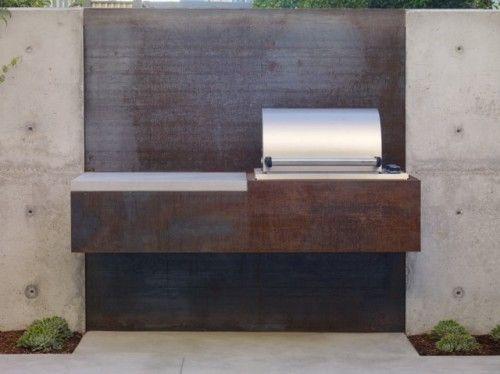 BBQ corten steel + concrete wall