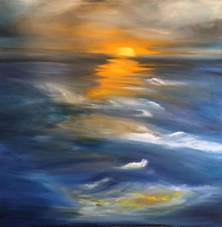 Sunrise over the ocean, oil on canvas, 100x100cm