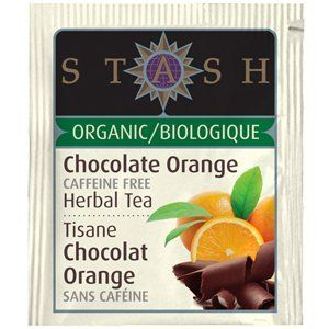 Stash Tea Organic Chocolate Orange Herbal Tea. I'm not gonna say it tastes like a chocolate bar, but it's very light, smooth, and decaf.