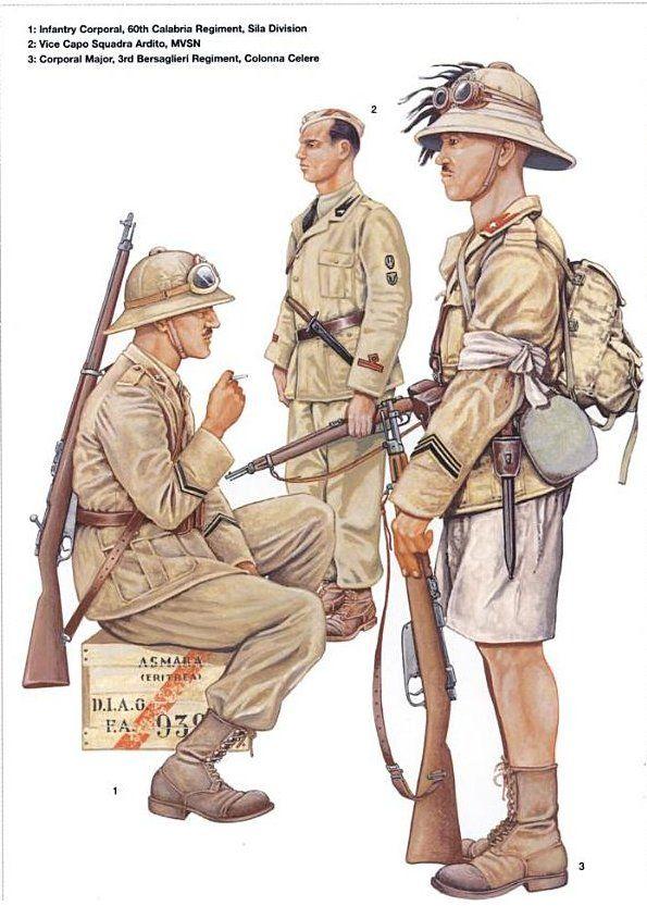 Italian colonial troops 1-Infantry Corporal, 60th Calabria Rgt, Sila division 2-Vice Capo Squadra Ardito MVSN 3-Corporal Major, 3rd Bersaglieri Rgt, Volonna Celere