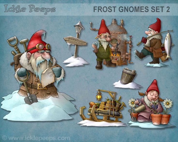 A set of 4 Frost Gnomes and 3 additional props in PNG format