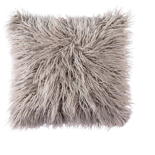 OJIA Deluxe Home Decorative Super Soft Plush Mongolian Faux Fur Throw... (£14) ❤ liked on Polyvore featuring home, home decor, throw pillows, grey accent pillows, grey throw pillows, grey toss pillows, gray home decor and gray accent pillows
