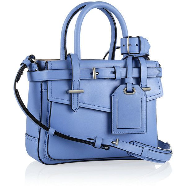 Reed Krakoff Boxer mini leather tote ($805) ❤ liked on Polyvore featuring bags, handbags, tote bags, blue leather tote bag, tote purses, leather handbags, leather tote bags and blue tote