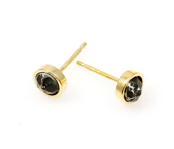 2pcs   High Polished Gold Plated with Black Marble Round 5mm