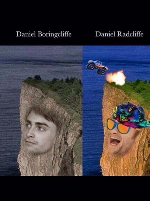 So many Harry Potter-related puns, some verbal, some visual. (But, Daniel RAD-cliffe, geddit?? :D)