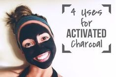 4 uses for activated charcoal - (face mask, pimple spot treatment, bug bites, and teeth whitener)