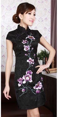petite robe chinoise noire http://www.laciteinterdite.com/robe-chinoise-qipao-courte-damassee-c2x12606465