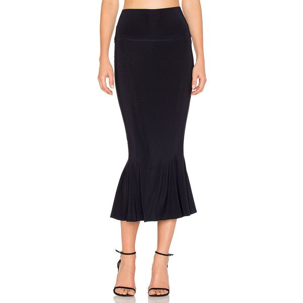 Norma Kamali Cropped Fishtail Skirt ($175) ❤ liked on Polyvore featuring skirts, fishtail skirt, fish tail skirt, norma kamali, fishtail maxi skirt and long fishtail skirt