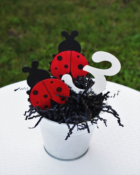 ladybug centerpiece, ladybug birthday party, ladybug party decor, girl birthday…