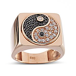 Ring yinyang! Pink gold 14ct with black and white zircon! Just fabulous!