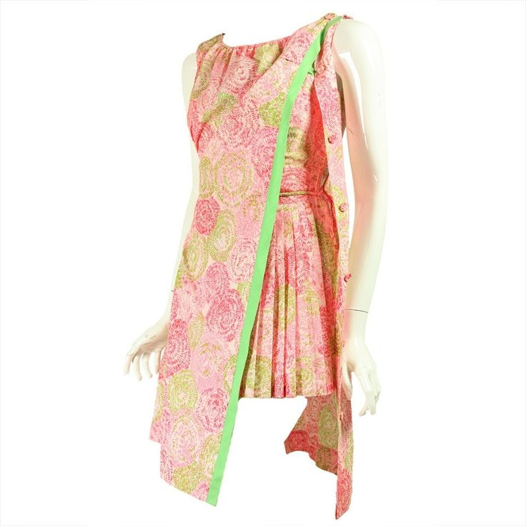 Vintage 1960's Pink & Green Playsuit with Cover Up