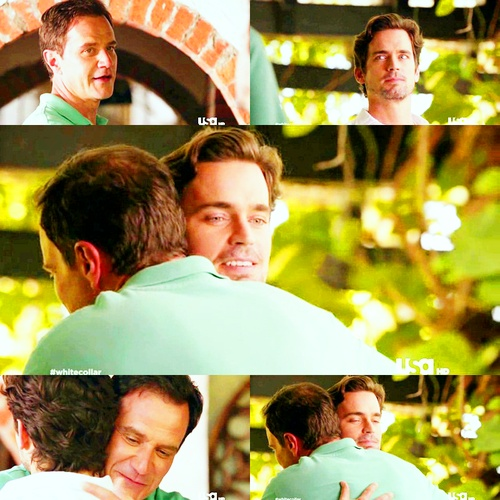 Season 4 episode 1 - Peter and Neal hug      # Neal Caffrey & Peter Burke    White Collar, 4.01 - Wanted