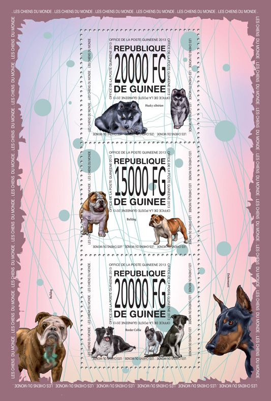 GU 13513 a	Dogs of the world, (Siberian Husky, Bulldog, Border Collie).