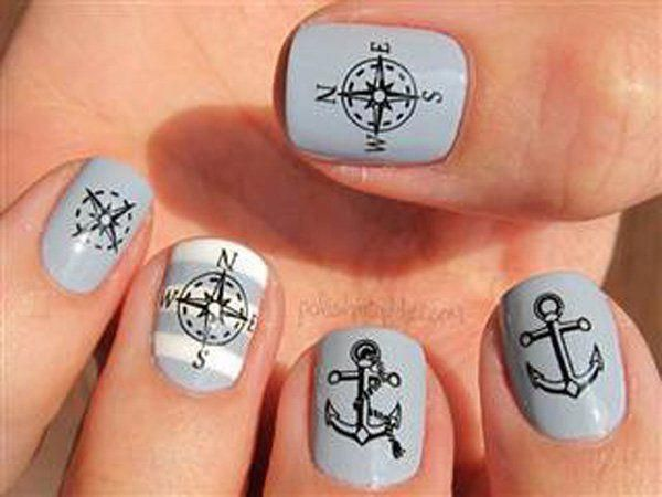 anchor nail art – 60 Cute Anchor Nail Designs  ♥ ! #flowernaildesigns