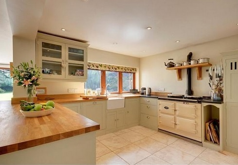 Perfect look for my kitchen love the green units and the for Green and cream kitchen ideas