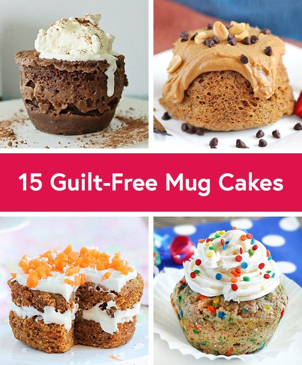 Baking up a whole batch of brownies, cupcakes or cookies is never convenient and takes too much time. Solution? Microwaved mug cakes! But beware — they're often packed with heaps of butter and added sugar. Luckily, there are ways around using too much of these ingredients. We've scoured the Interwebs and found these 15 healthier mug cake recipes.