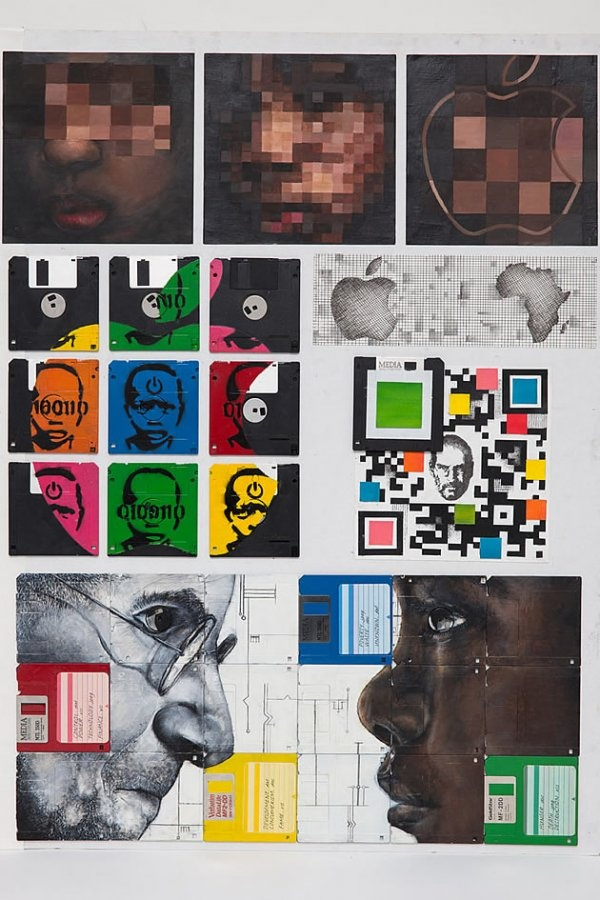 The Impact of E-Waste: painting on floppy disks!
