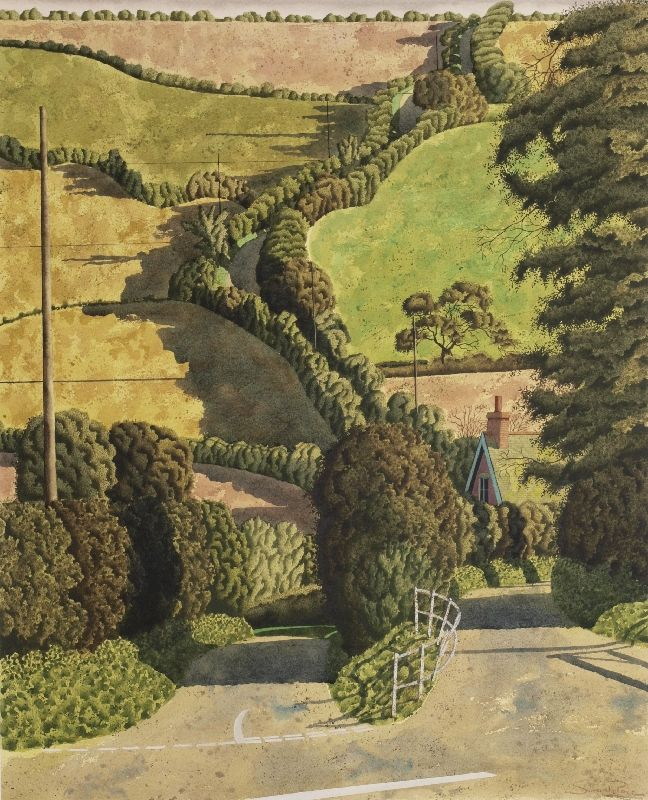 """Lane near Mullion (Lizard Peninsula)"" by Simon Palmer (watercolour, ink and gouache)"
