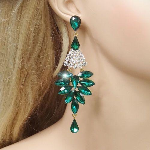Delicate-Flower-Drop-Chandelier-Dangle-Earrings-Pierced-Green-Rhinestone-Crystal