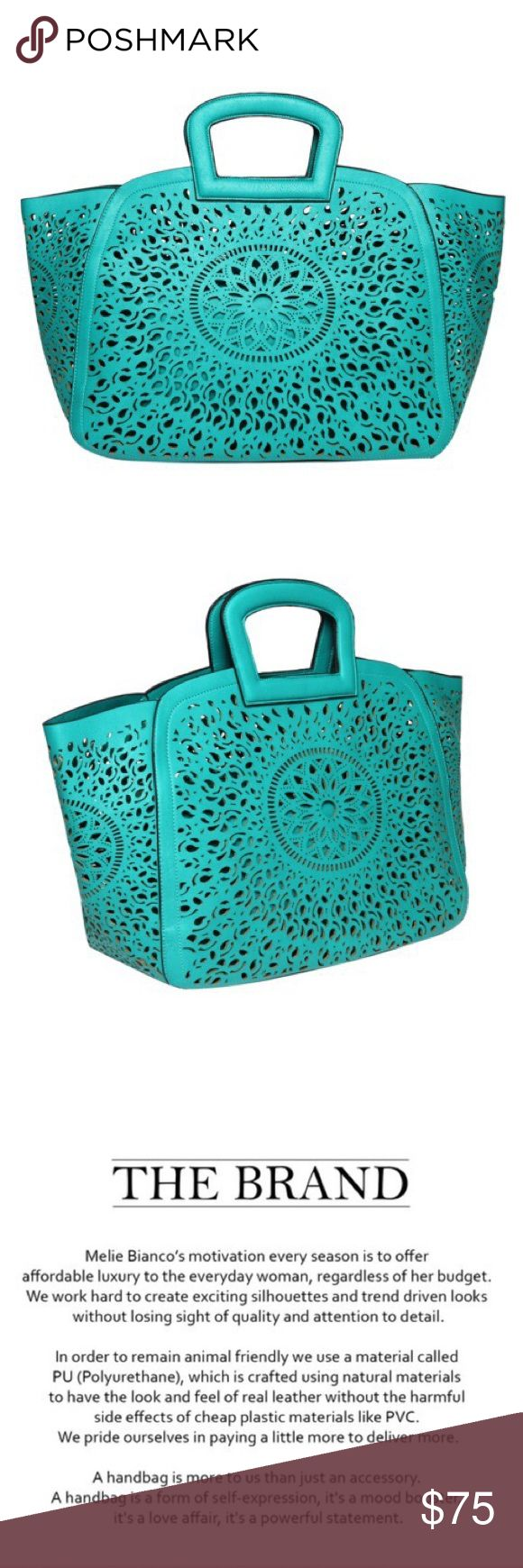 Melie Bianco Nancy Tote Melie Bianco turquoise Nancy Tote Spring / Summer 2017.  Premium Vegan Leather Extra Removable Pouch With Top Zipper Detachable Crossbody Strap Interior Slim Pockets Interior Zipper Pocket Dimensions 19'L x 6'W x 12.5'H Handle Drop 3' Color: Red PETA Approved Ethical Vegan Leather Melie Bianco Bags