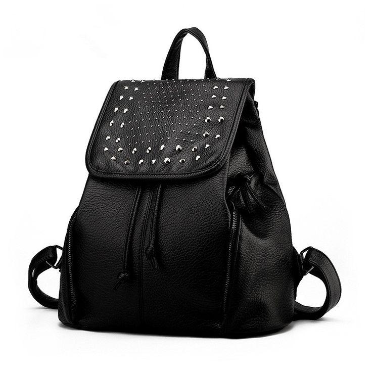 Купить Женщины сумку 2016 новое поступление заклепки рюкзак женский ретро омывается искусственная кожа…