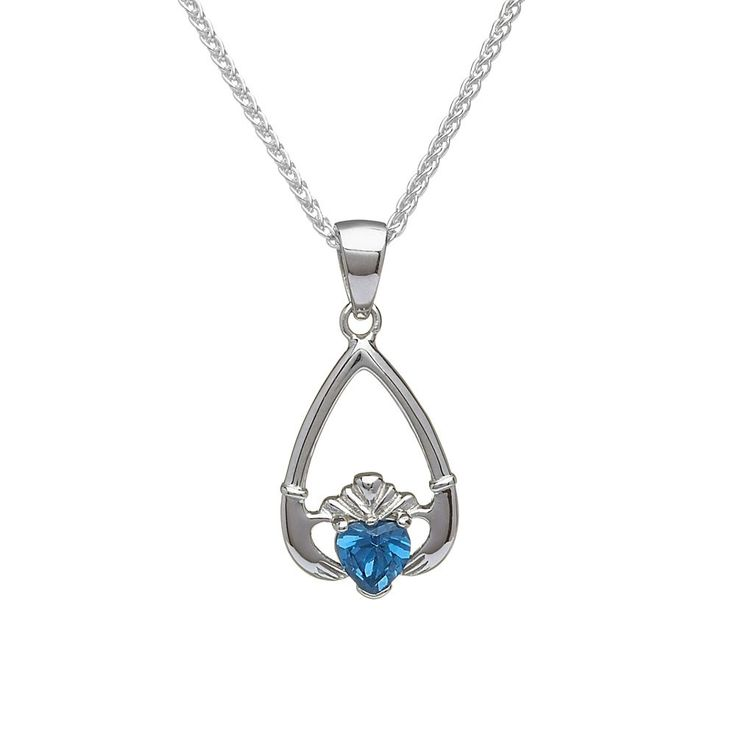 December Birthstone Claddagh Pendant - Claddagh Birthstone Jewelry - Rings from Ireland
