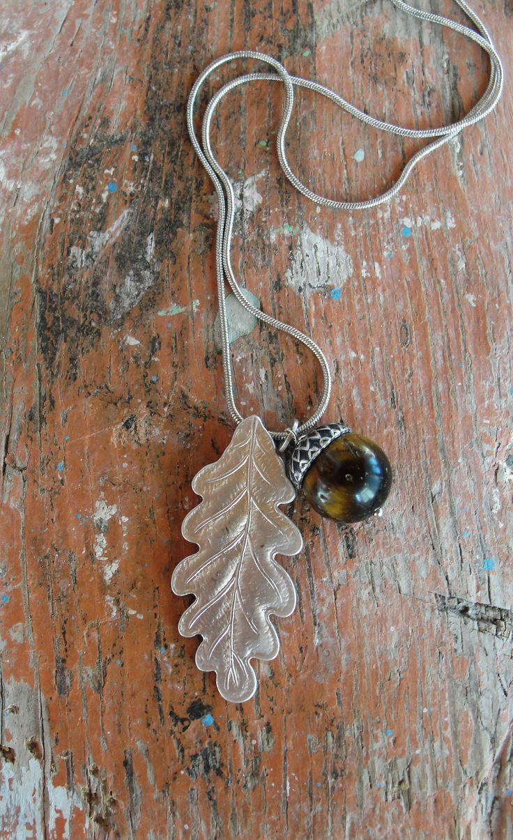 Woodland Acorn Necklace Twig Jewelry Tiger Eye Stone Leaf