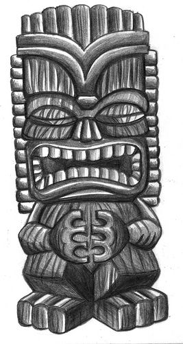 Wooden Tiki Head Drawing Tiki Drawings Illustra...