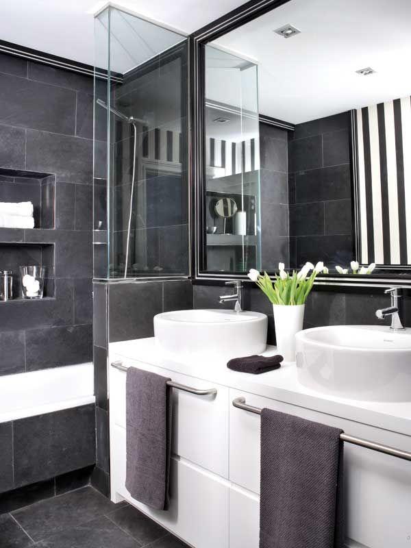 Un baño con revestimentos actuales - Banos - Decoracion interiores - Interiores, Ambientes, Baños, Cocinas, Dormitorios y habitaciones - CASADIEZ.ES