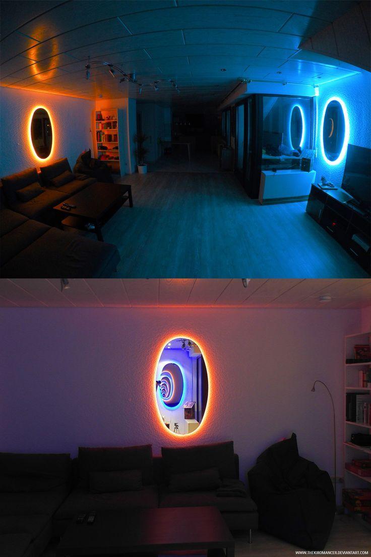 #Decoración creativa al estilo del #VideoJuego Portal con espejos y luz de neón
