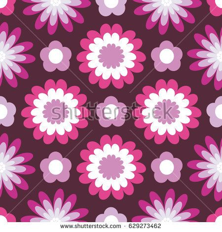 Bright floral pattern. Seamless vector background with fabulous flowers for printing on fabric, paper, gift wrapper, household goods, interior. Beautiful flower buds on a burgundy background