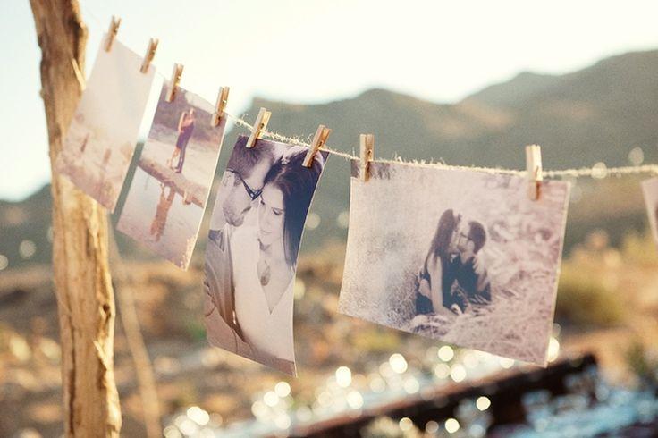 DIY varal de fotos para casamento e noivado.