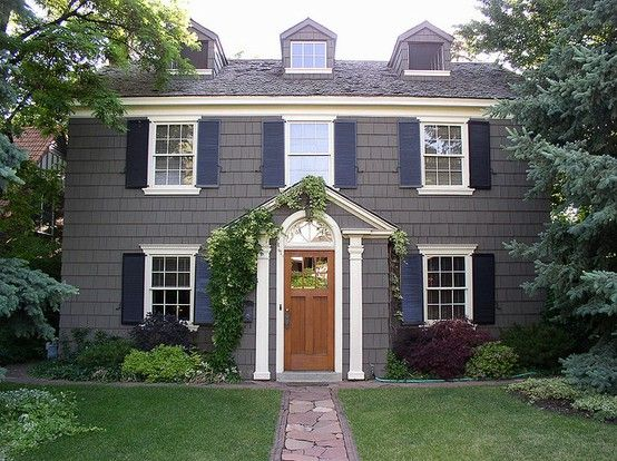 blue houses with gray or black shutters | Care to guess those paint colors??