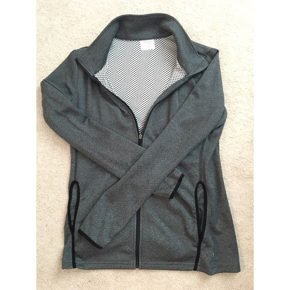 Grey zip up Grey athletic Danskin zip up. Fully zips, and has 2 front pockets and thumb holes :) Danskin Tops