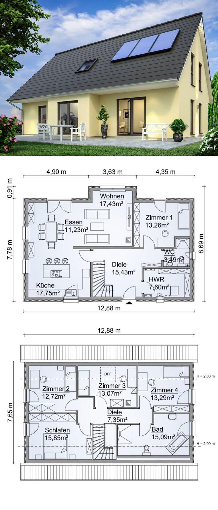 Modernes Einfamilienhaus mit Satteldach Architektur & Grundriss mit Erker Anbau … – Einfamilienhaus – Ideen & Grundrisse