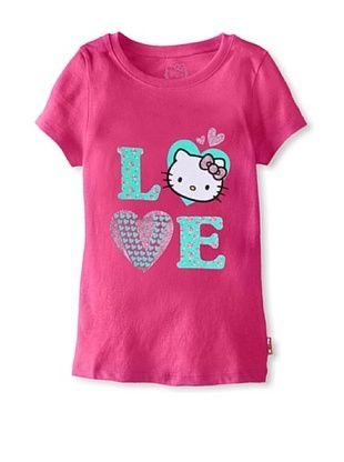 69% OFF Hello Kitty Girl's Love Glitter Tee (Fuchsia Purple)