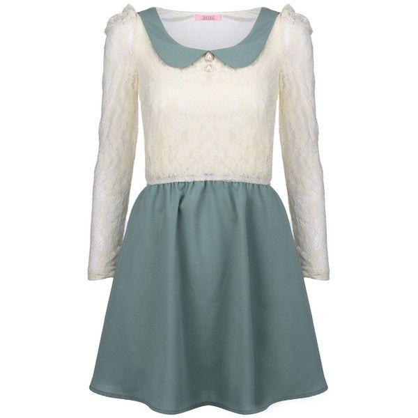 Peter Pan Collar Mint Dress ($38) ❤ liked on Polyvore featuring dresses, vestidos, embellished shift dress, mint dress, green shift dress, lace dress and long sleeve embellished dress