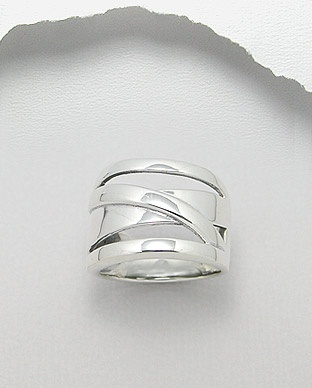 Sterling Silver 92.5 Crossover Ring.  Top width 17mm.  Size 6-10  Enquiries: sales@eastern-elements.com.au