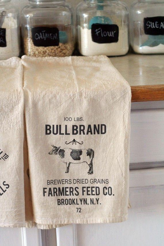 Bohemian Farmhouse Towel  Vintage Cow Grain Sack by teresasheeley, $8.00