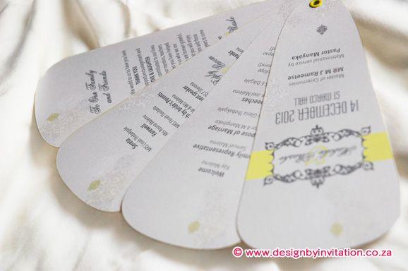 Fan Wedding Order of Ceremony. Waaier Trou Onthaal Program. © www.designbyinvitation.co.za