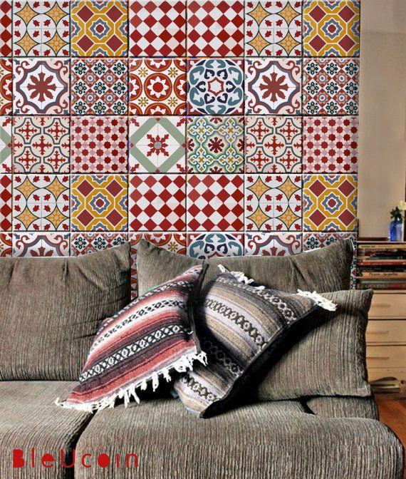 Athangudi Tile Vintage / mur / salle de bains / par Bleucoin