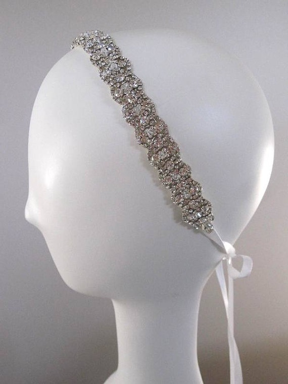Wedding headpiece headband Rhinestone Headband by Tatishotties,