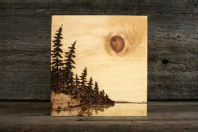 Lakeside Sun  Art Block  Wood Burning by TwigsandBlossoms on Etsy, $47.00...love that this artist took the effort to do the sides, focusing on the details to continue around the sides....would LOVE to learn this art...gorgeous!