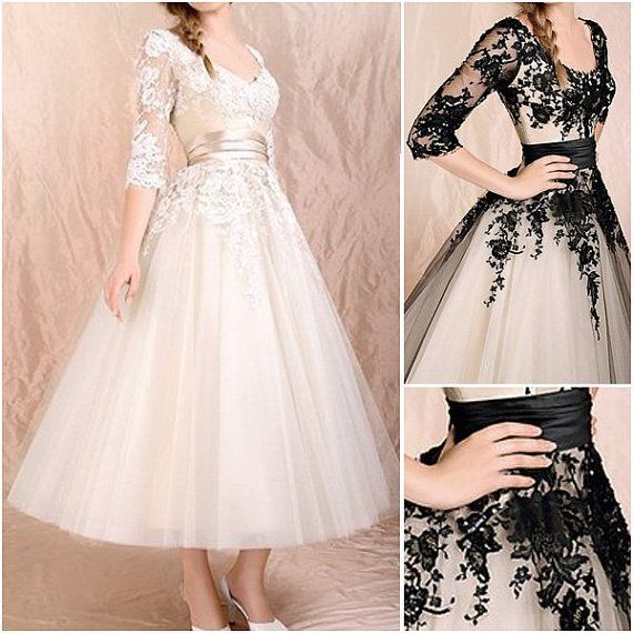 Luulla | High quality black lace 3/4 sleeves tea length wedding dress,champagne lace appliques bodice puls size custom made short bridal wedding gowns,bridal wedding gown | $189.99