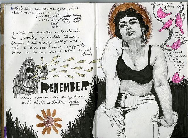 art journal 8 pages 19-20 on Flickr.remember: every woman is a goddess and that includes you. (i should also remember to finish my drawings)