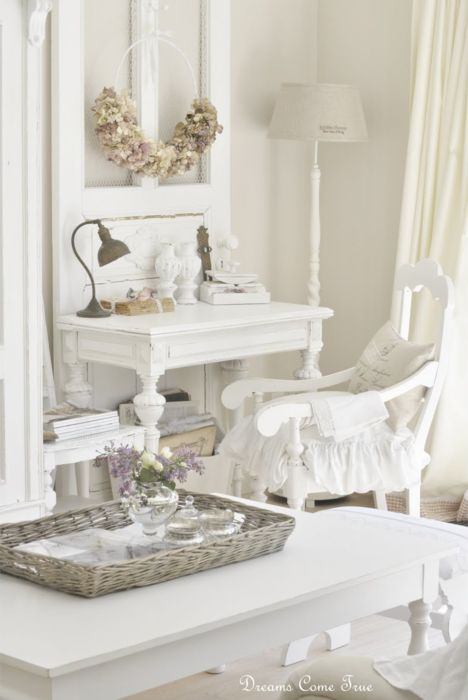 I adore the writing desk or vanity chair cushions & ruffle. The accent of a screen door behind is just lovely!