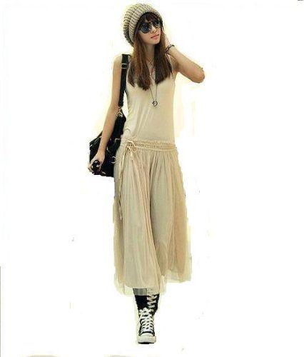 Amazon.co.jp: (グローウィン)growin ワンピース 無地 シフォン ロングドレス ロングスカート カジュアル ジョーゼット レディース キャミソール (ベージュ): 服&ファッション小物