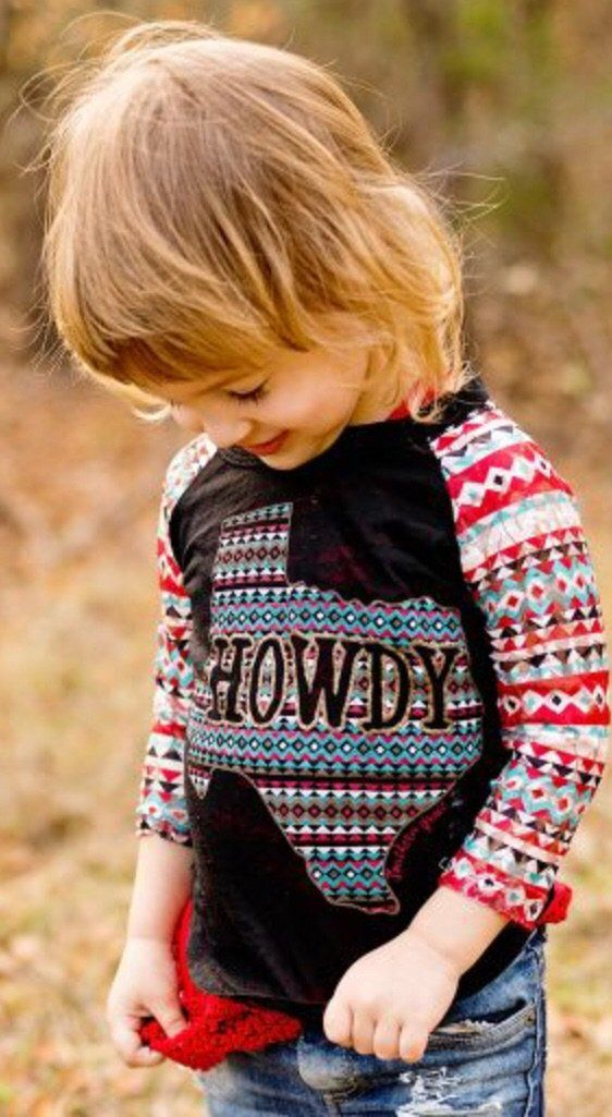 Girls' Howdy Texas T-shirt With Navajo Print Raglan Sleeves