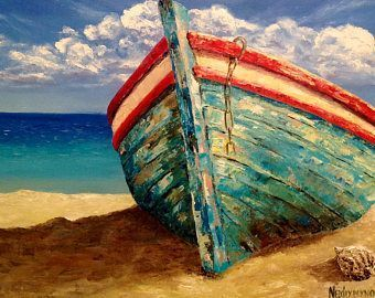 Boat Oil Painting Seascape Ocean Painting Boat Painting Wall #OilPaintingBoat #OilPaintingSeascape